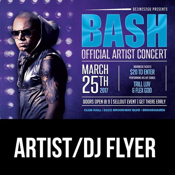 BASH Artist and Dj Flyer Template Flyer Psd artist