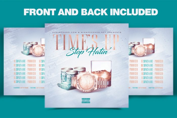 Times up Stop Hating mixtape psd album cover template