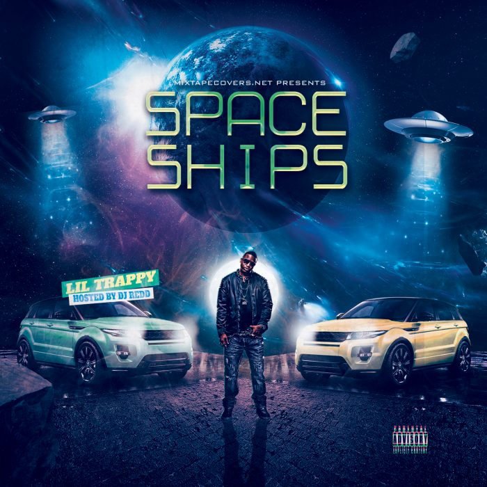Space Ships Mixtape mixtape psd album cover template