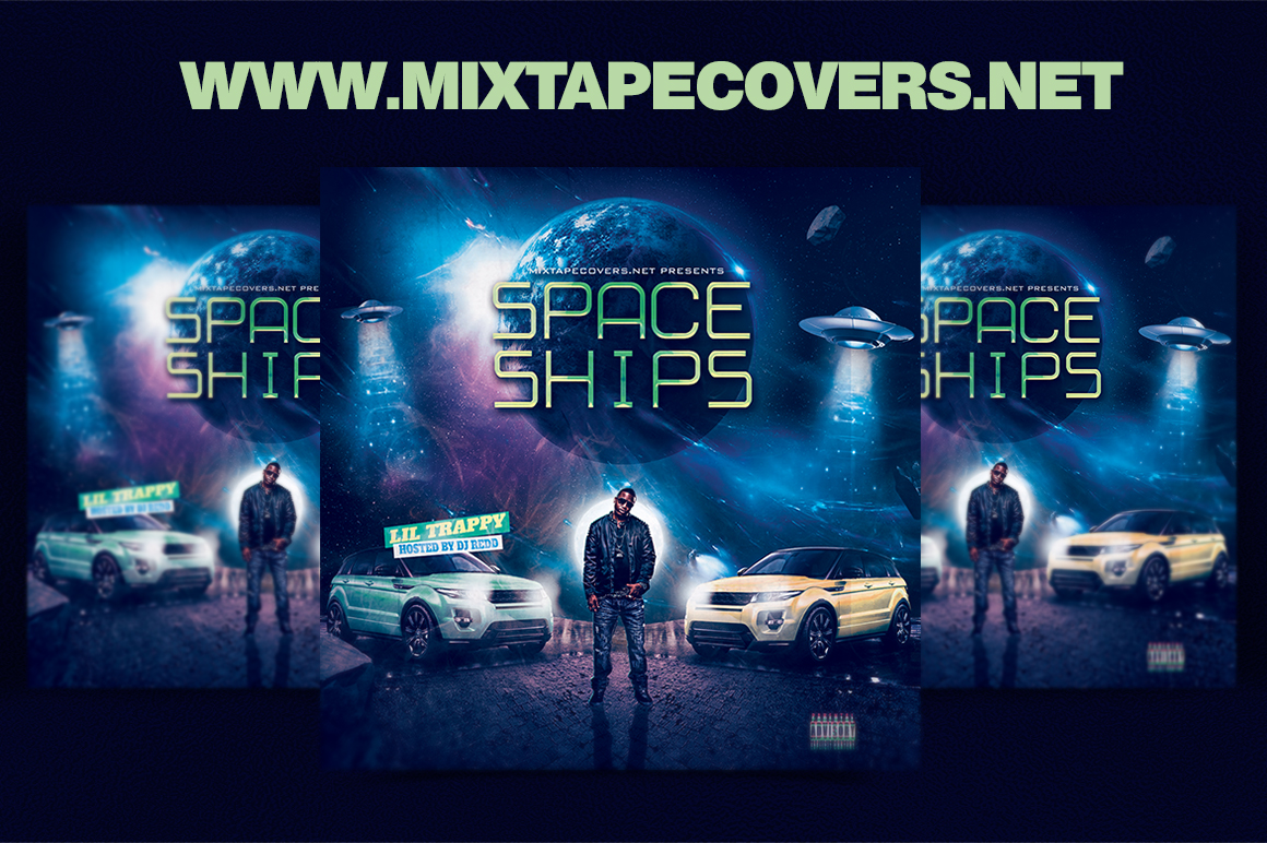 Space ships mixtape cover design template for Free mixtape covers templates