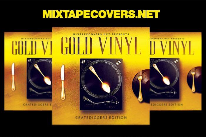 Gold Vinyl Album Cover mixtape psd album cover template