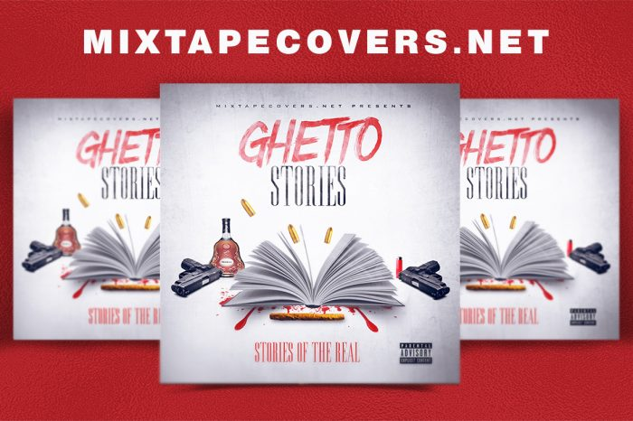 GHETTO STORIES mixtape psd album cover template