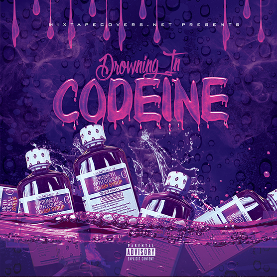 Drowning in Codeine mixtape psd album cover template