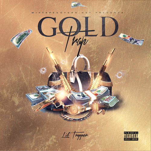 Gold Trap mixtape cover design mixtape psd album cover template