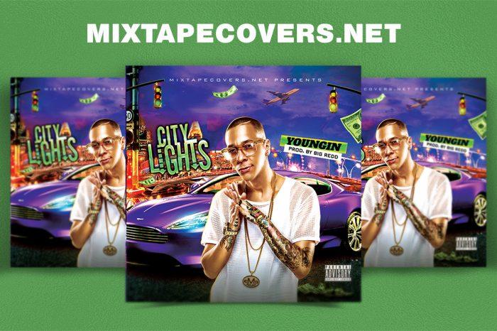 City Lights Mixtape mixtape psd album cover template