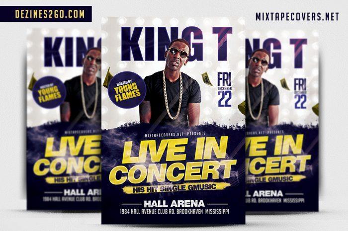 KING T Artist/Dj flyer Template Flyer Psd artist